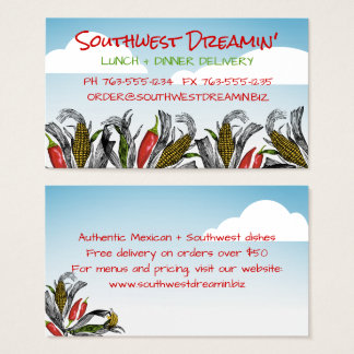 Mexican food Southwest chef catering business card