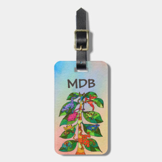 Mexican Frog Tree of Life Watercolor Monogram Luggage Tag