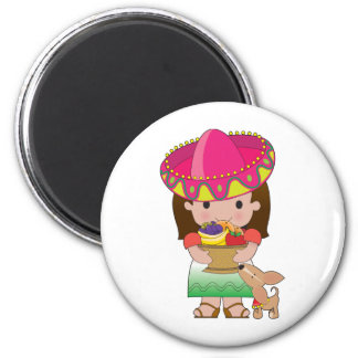 Mexican Girl and Dog 2 Inch Round Magnet
