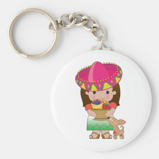 Mexican Girl and Dog Keychain