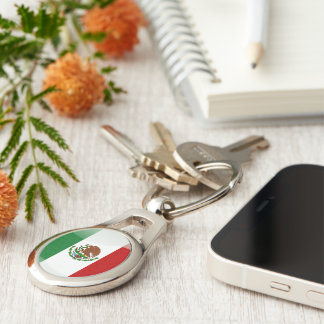 Mexican glossy flag Silver-Colored oval keychain