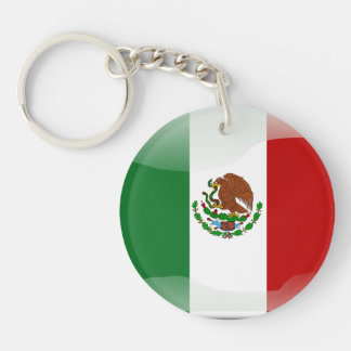 Mexican glossy flag Single-Sided round acrylic keychain