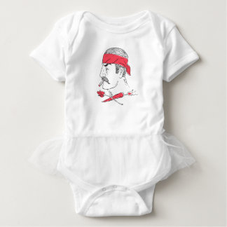 Mexican Guy Cigar Hot Chili Rose Drawing Baby Bodysuit