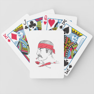 Mexican Guy Cigar Hot Chili Rose Drawing Bicycle Playing Cards
