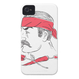 Mexican Guy Cigar Hot Chili Rose Drawing iPhone 4 Case
