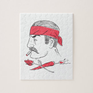 Mexican Guy Cigar Hot Chili Rose Drawing Jigsaw Puzzle