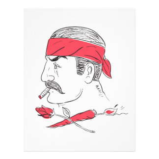 Mexican Guy Cigar Hot Chili Rose Drawing Letterhead