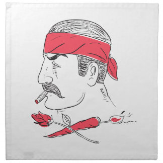 Mexican Guy Cigar Hot Chili Rose Drawing Napkin