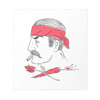 Mexican Guy Cigar Hot Chili Rose Drawing Notepad