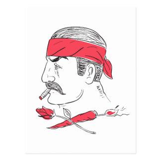 Mexican Guy Cigar Hot Chili Rose Drawing Postcard