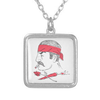 Mexican Guy Cigar Hot Chili Rose Drawing Silver Plated Necklace