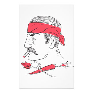 Mexican Guy Cigar Hot Chili Rose Drawing Stationery