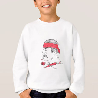 Mexican Guy Cigar Hot Chili Rose Drawing Sweatshirt