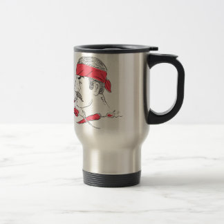 Mexican Guy Cigar Hot Chili Rose Drawing Travel Mug