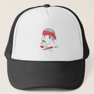 Mexican Guy Cigar Hot Chili Rose Drawing Trucker Hat
