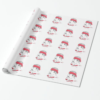 Mexican Guy Cigar Hot Chili Rose Drawing Wrapping Paper