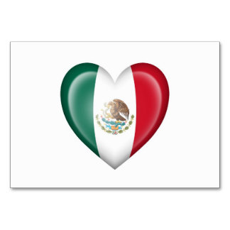 Mexican Heart Flag on White Card