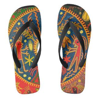Mexican Huichol Del Sol Ritual Design Flip Flops