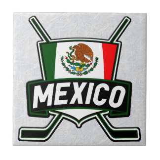 Mexican Ice Hockey Flag Ceramic tile