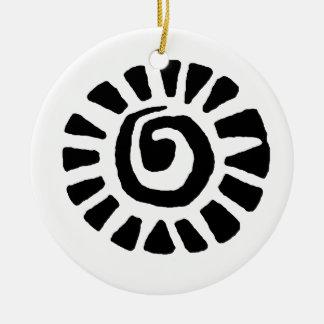 Mexican Indian Sun Round Ceramic Ornament