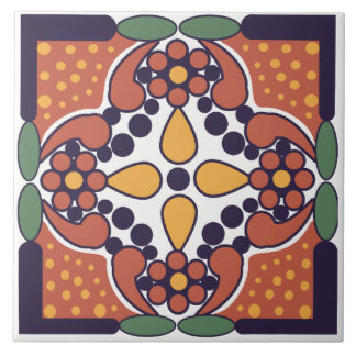 Mexican Inspired Floral Ceramic Tile