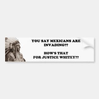 Mexican Invasion/White Justice Bumper Sticker
