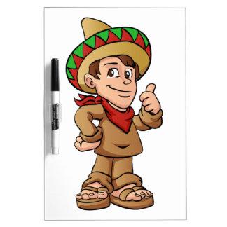 mexican kid cartoon. dry erase boards