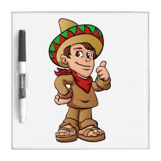 mexican kid cartoon. dry erase white board