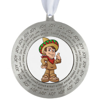 mexican kid cartoon. round pewter ornament