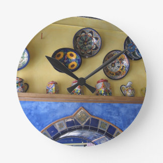 Mexican Kitchen plates and pottery Round Clock