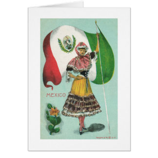 Mexican Lady & Flag-Early 1900's Card