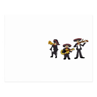 Mexican Mariachi Band Cartoon Illustration Postcard