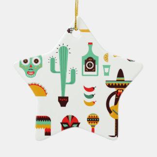 mexican mariachi ceramic star ornament