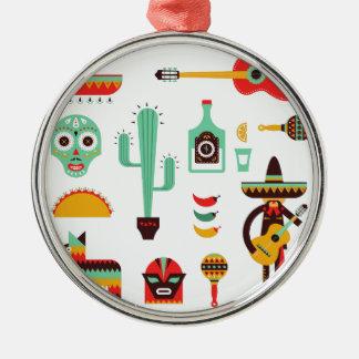 mexican mariachi Silver-Colored round ornament