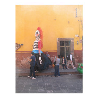 Mexican Mojiganga Against a Yellow Wall Postcard