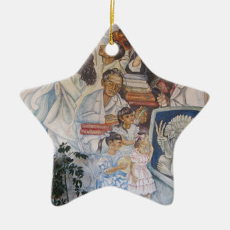 Mexican mural art ceramic star ornament