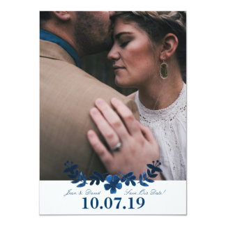 Mexican Otomi Save The Date Card - Navy