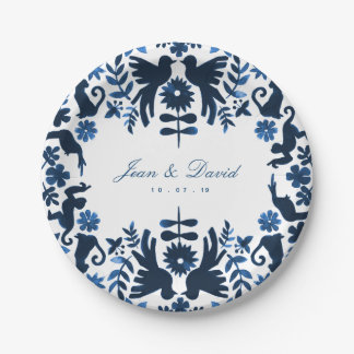 Mexican Otomi Themed Wedding Cake Plates - Navy