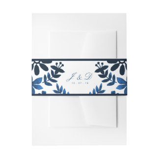 Mexican Otomi Wedding Invitation Band - Navy Invitation Belly Band