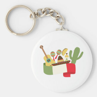 Mexican Party Basic Round Button Keychain