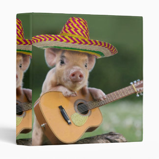 mexican pig - pig guitar - funny pig 3 ring binder
