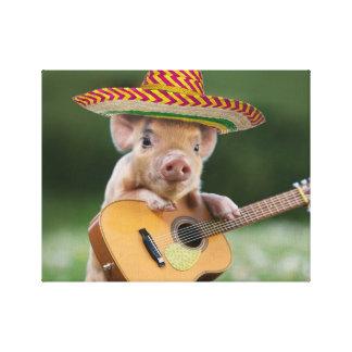 mexican pig - pig guitar - funny pig canvas print