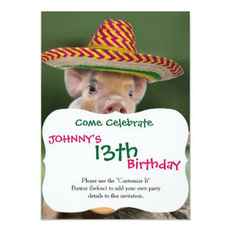 mexican pig - pig guitar - funny pig card