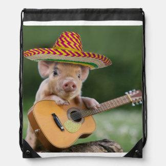 mexican pig - pig guitar - funny pig drawstring bag