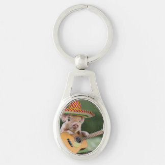 mexican pig - pig guitar - funny pig keychain