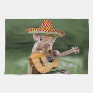 mexican pig - pig guitar - funny pig kitchen towel