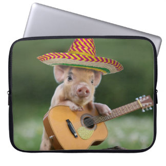 mexican pig - pig guitar - funny pig laptop sleeve