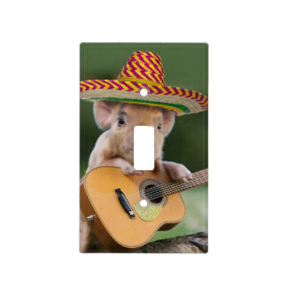mexican pig - pig guitar - funny pig light switch cover