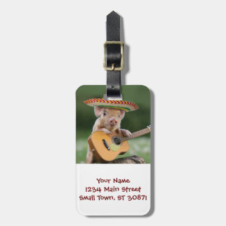 mexican pig - pig guitar - funny pig luggage tag