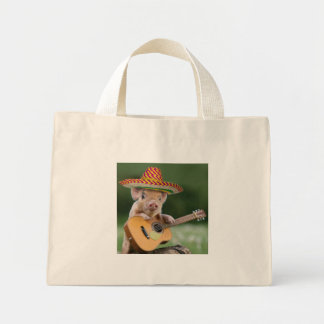mexican pig - pig guitar - funny pig mini tote bag